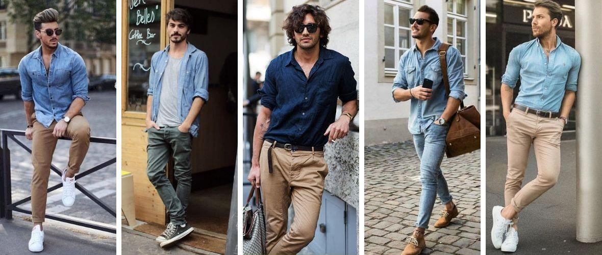 5 Jeanshemd Herren Outfits