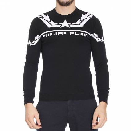 maglia philipp plein uomo maglia girocollo jaquard stella e logo philipp plein 315125. Black Bedroom Furniture Sets. Home Design Ideas