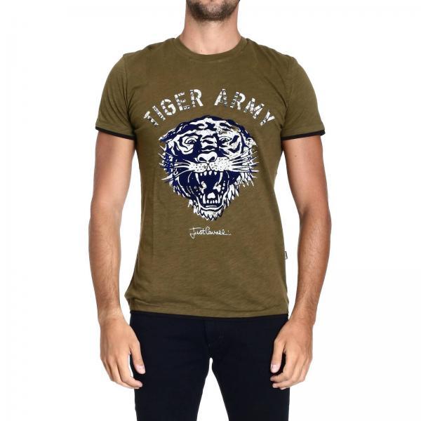 4692bf1403094 Just Cavalli Men's Green T-shirt   Short Sleeve Tiger Print   Just Cavalli T -shirt S01gc0104 N20480 - Giglio EN