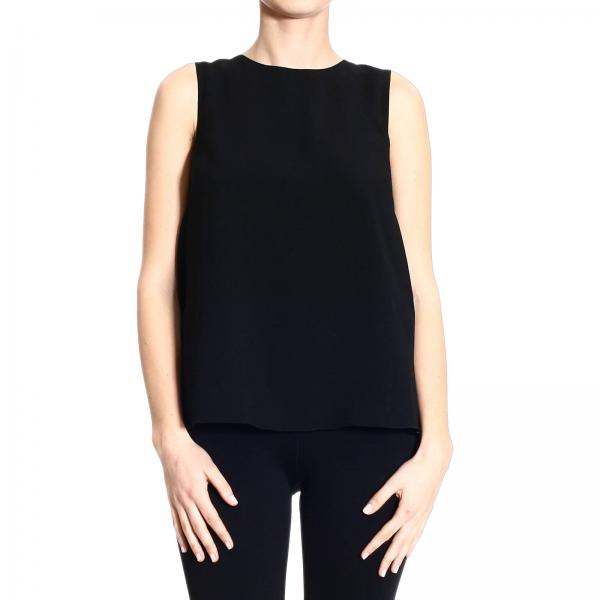 Red Valentino Womens Black Top Sleeveless Crepes With Bow Detail