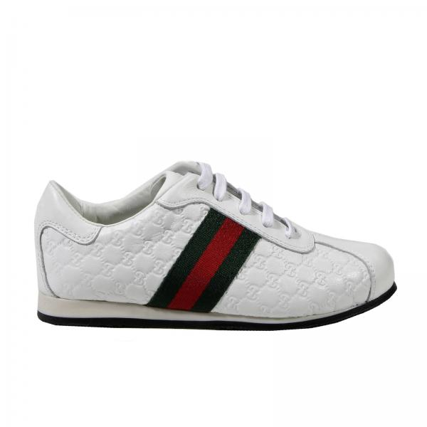 600079244 Gucci Little Boy's White Shoes | Sneaker Iwith Allacc Microguccissima | Gucci  Shoes 271316 Bln50 - Giglio EN