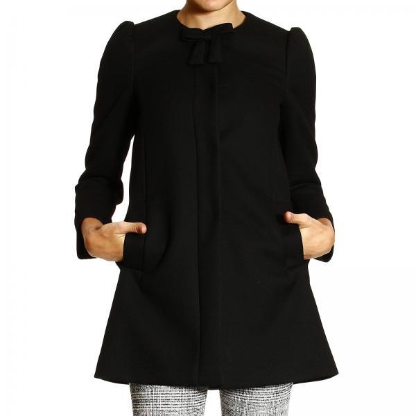 cappotto donna nero senza colletto