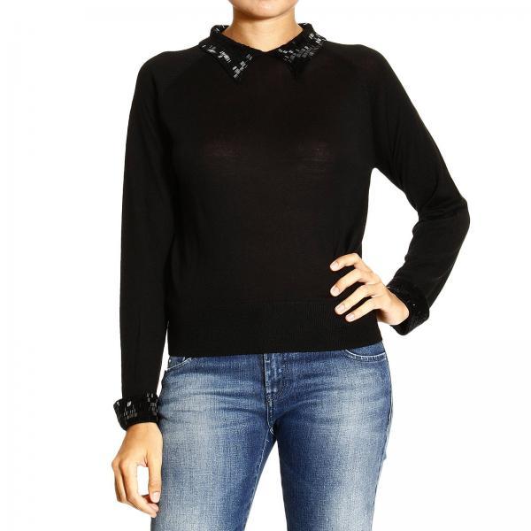 Donna Collo Con Paillettes Jeans NeroGirocollo Armani Maglia q354LRAj