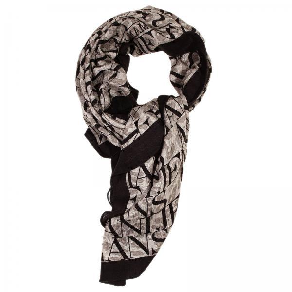 armani s scarf 110x110 wool logo all