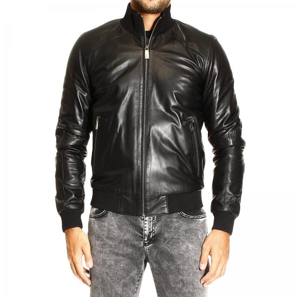 Versace Collection Men's Black Jacket | Bomber Leather | Versace ...