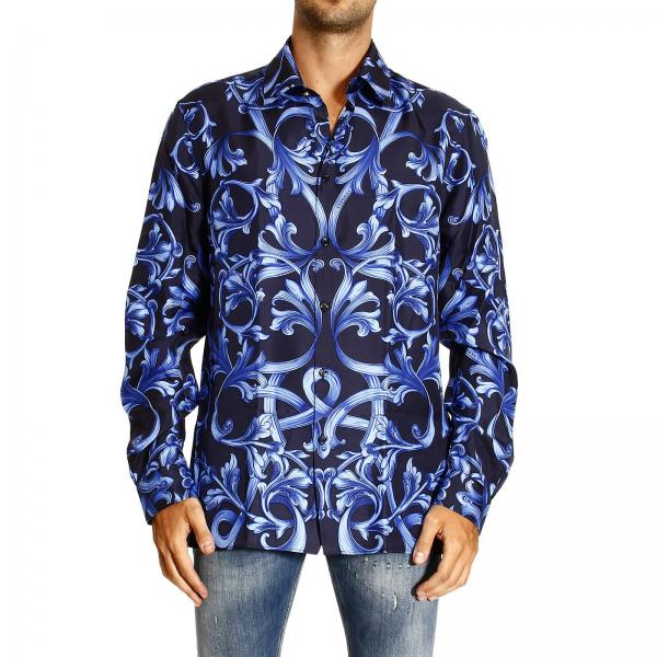 camicia uomo versace blue regular stampa barocco piazzata camicia versace 70030 214583. Black Bedroom Furniture Sets. Home Design Ideas
