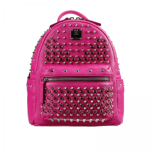Mcm Women S Pink Backpack Bag Stark Special Mini Leather Studs E Rhinestone Mwk4sve07 Pb001 Giglio En