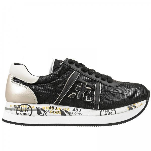 Donna Sneakers Premiata Goffrato Nero Conny Tessuto 4wwqYC