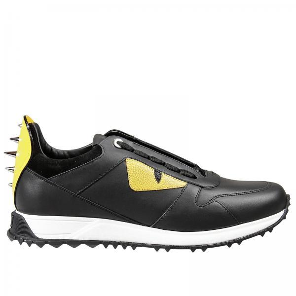 sneakers pelle con mostro e borchie