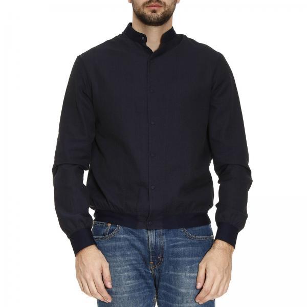 Armani Veste Collezioni Blouson Bleu Homme 5FX1Xqf