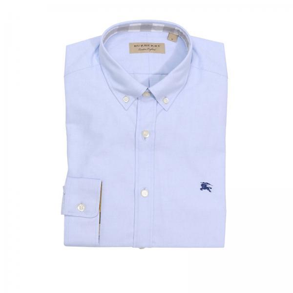 Camicia In Celeste Cotone Con Burberry Oxford Puro Uomo AwvAq1B