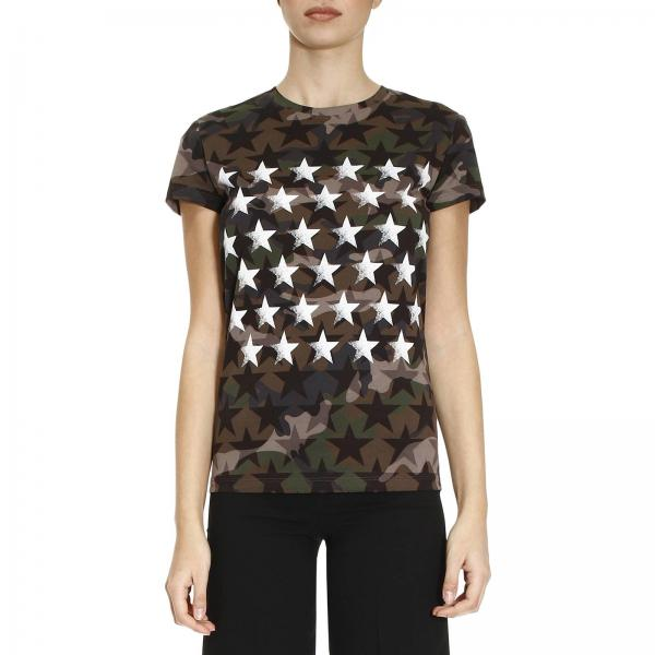758ab107 Valentino Women's Green T-shirt | T-shirt With Star Pattern On A Camouflage  Background | Valentino T-shirt Mb3mg04s 35q - Giglio EN