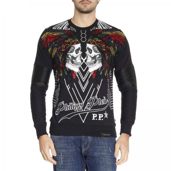 maglia uomo philipp plein nero felpa girocollo con stampa teschi e strass indiano maglia. Black Bedroom Furniture Sets. Home Design Ideas