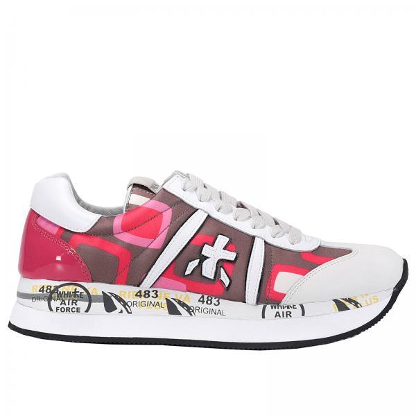 conny sneakers nylon stampato, pelle e vernice
