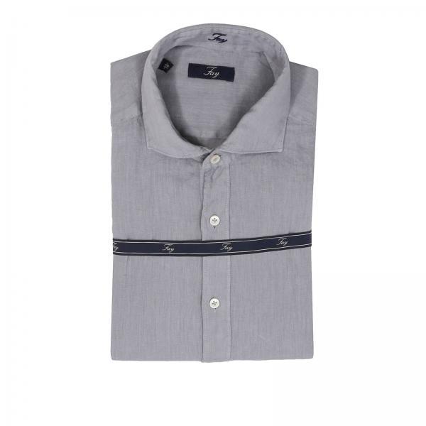 save off 2547b 9773a Camicia in puro lino con collo francese e logo interno