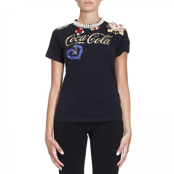 Nero Di Cotone Jersey In Strass T Donna Shirt Con Pinko aWSUxH1