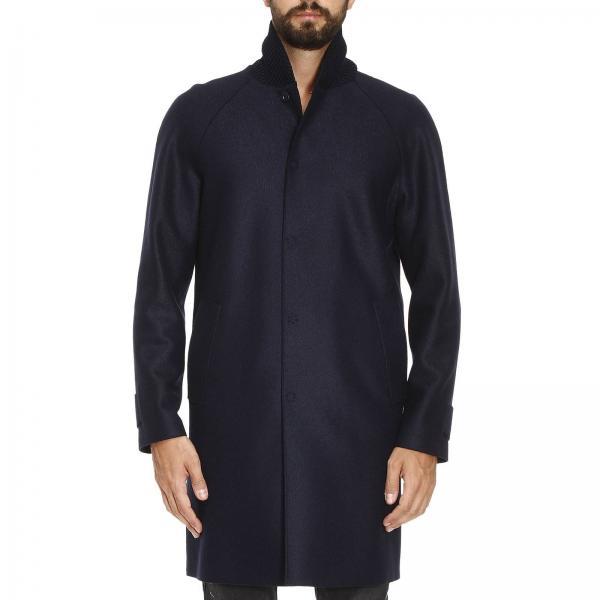 purchase cheap 4452f b034d Cappotto sfoderato in lana cotta con collo in maglia intrecciata