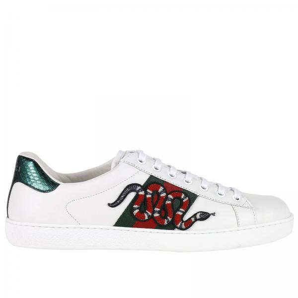 gucci mens white sneakers low ace sneakers with snake