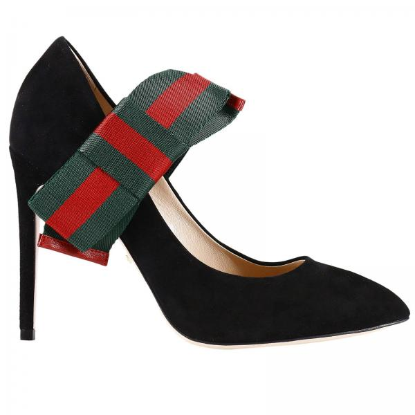 a299b199392 Bow pumps in suede with removable maxi web bow