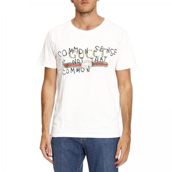t shirt uomo gucci bianco t shirt in puro cotone con stampa logo e multi scritte t shirt. Black Bedroom Furniture Sets. Home Design Ideas
