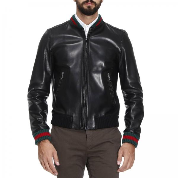 gucci men 39 s black jacket lambskin bomber jacket with virgin wool finishes and web detail. Black Bedroom Furniture Sets. Home Design Ideas