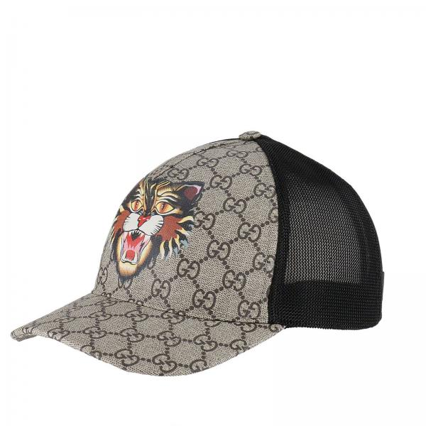 bab0feeb838c Chapeau Homme Gucci Beige   Casquette Baseball Avec Monogramme Gg Et  Impression Angry Cat   Chapeau Gucci 426887 4hb51 - Giglio FR