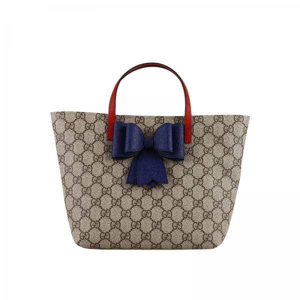 a9b0f23b7c73b6 Gucci Little Boy's Beige Bag   Leather Gg Supreme Classic Shopping Bag With  Contrast Bow   Gucci Bag 457232 Kwzcn - Giglio EN