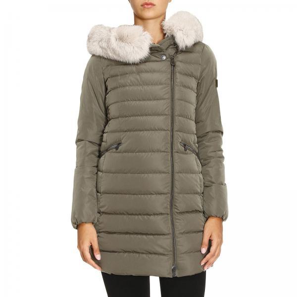 miglior sito web af981 9d150 Piumino seriola 01 fur in nylon con zip asimmetrica e cappuccio con bordi  di pelliccia removibile