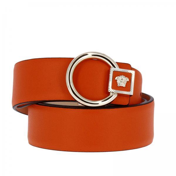 Cintura Donna Versace | Cintura In Pelle Liscia Con Maxi Fibbia Tonda Testa  Di Medusa | Cintura Versace Dcdg167 Dvit5 - Giglio IT
