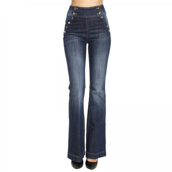 Jeans Donna Elisabetta Franchi Denim   Denim Used Slim Stretch Zampa Vita  Alta Con Bottoni   Jeans Elisabetta Franchi Pj23s 76e2 - Giglio IT