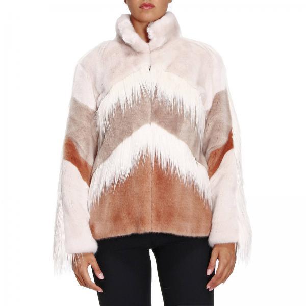 online retailer a5a86 5f017 Cappotto corto in pelliccia sintetica bicolor con motivo diagonale