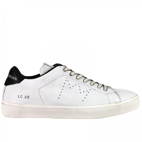 Leather Crown Men s White Sneakers  8d597f49947