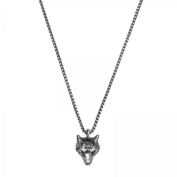 Collana Anger Forest Wolf 55 cm in argento sterling con finitura aureco