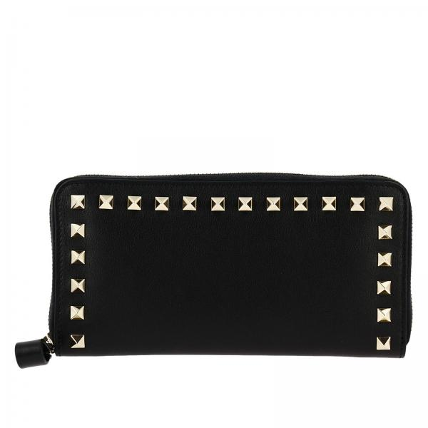 Portafoglio Rockstud Spike continental con zip around e bordi di borchie