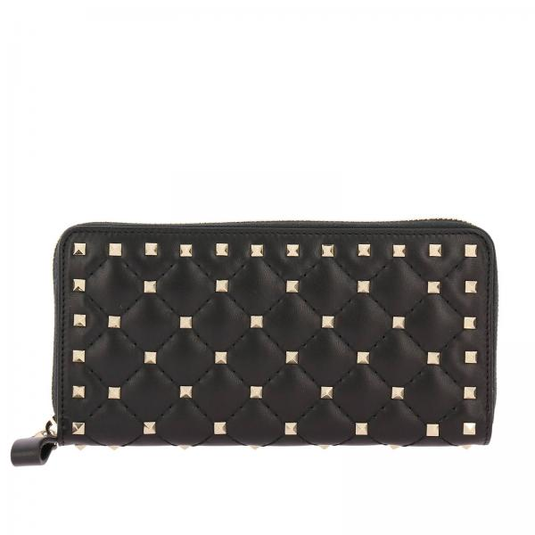 Portafoglio Rockstud Spike zip around in pelle trapuntata con borchie metal