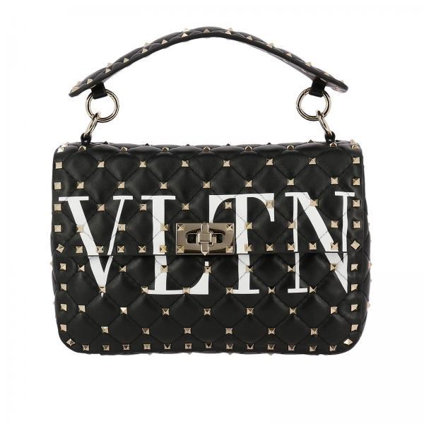 Valentino Garavani Women S Handbag Rockstud Spike Bag In Genuine Leather With Micro Studs And Shoulder Strap Pw0b0122 Xqc