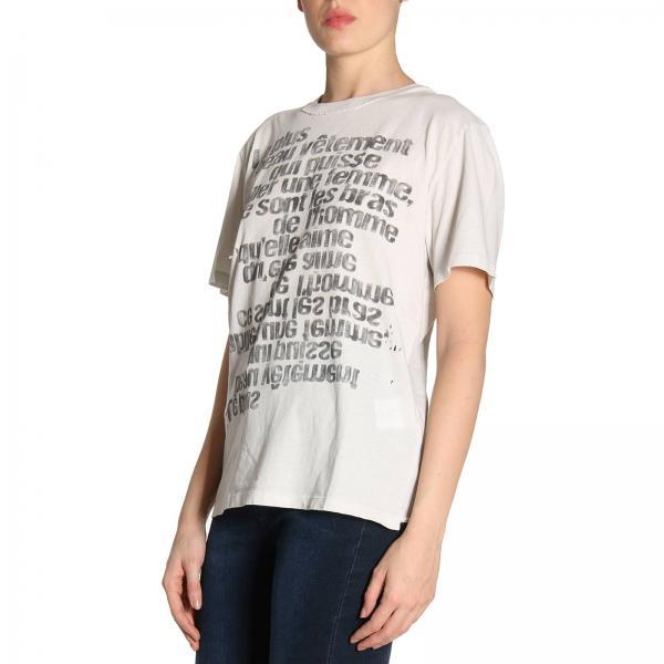 T shirt Girocollo Con Scritte In Puro Cotone Stampa Multi A 0nPkw8O