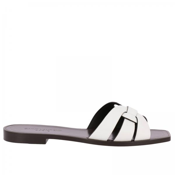 a61d5ee3 Ysl tribute sandal low in smooth leather with crossed straps