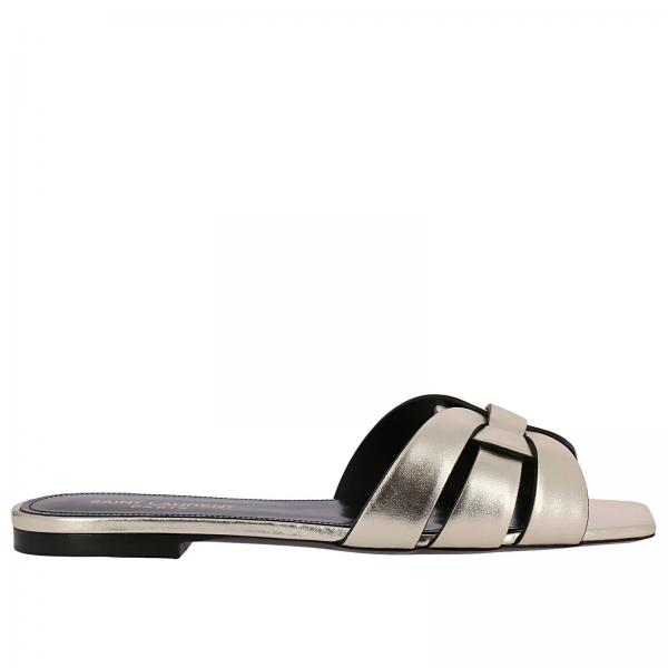 2e90817e Ysl tribute slide sandals in laminated leather with crossed straps