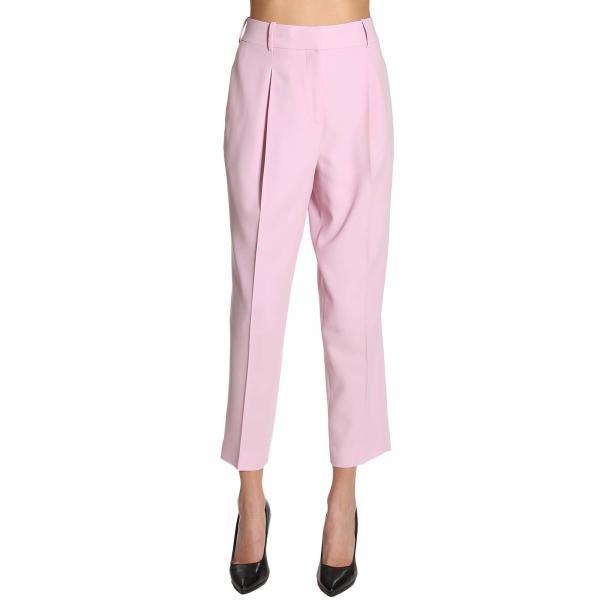 Pantalone a vita alta in crêpe di lana
