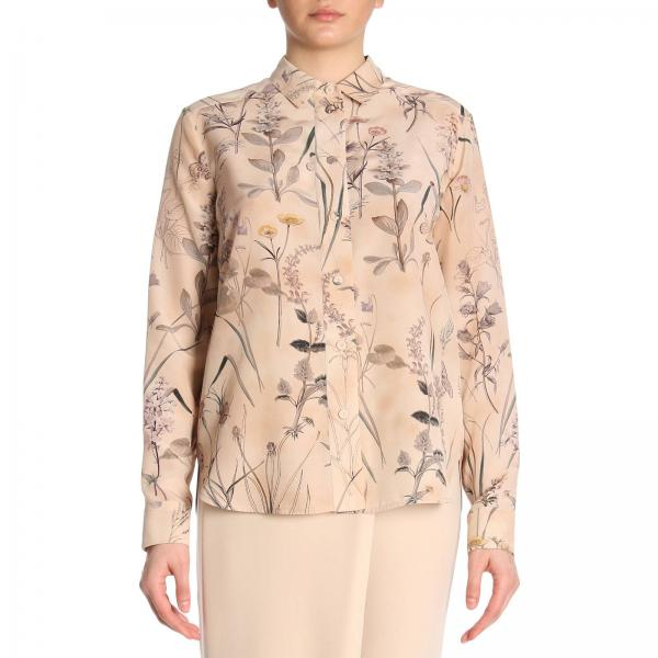 Camicia in pura seta con stampa botanica