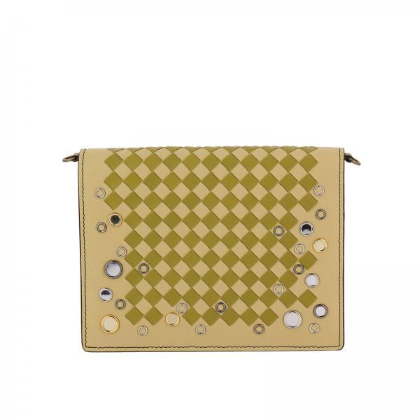 Borsa Palio small con motivo intrecciato bicolor e bordi con occhielli metallici
