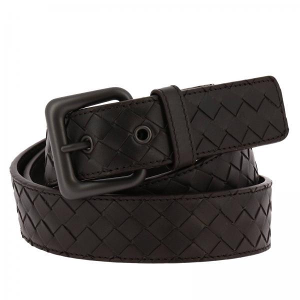 Cintura 3,5 cm in pelle con classico motivo intrecciato e fibbia grande
