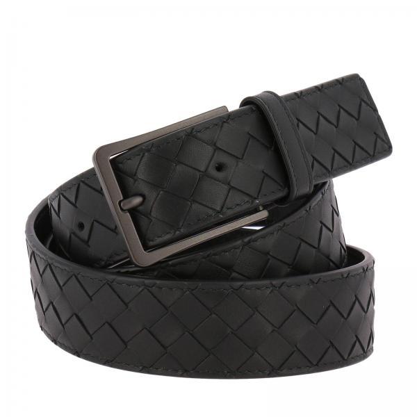 Cintura 3,5 cm in pelle con classico motivo intrecciato e fibbia sottile