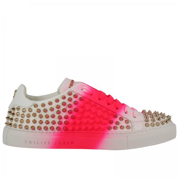 Sneakers Lo-Top Pink Me con borchie metal all over e banda pittorica fluo