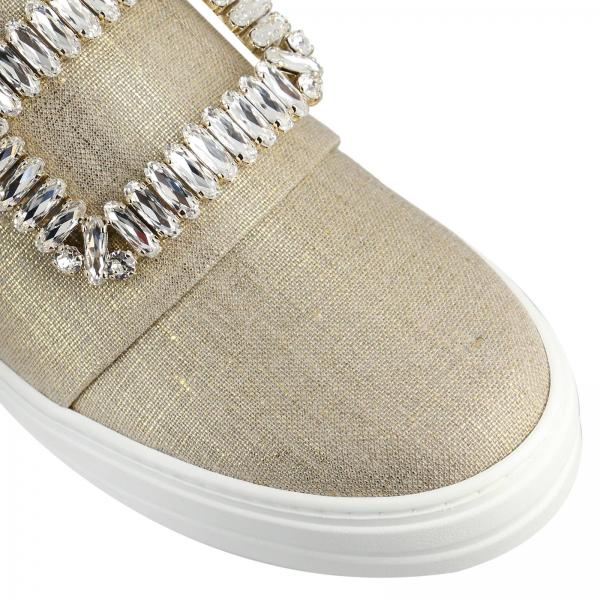 On Slip Sneakers In Canvas Buckle Sneaky Strass Viv' Lurex 3Aq4RL5j