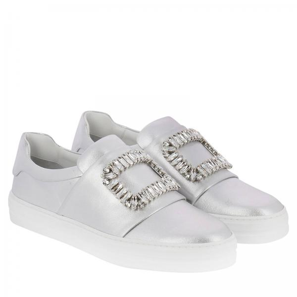 Pelle Sneakers Slip In Sneaky Viv' Buckle Strass On Laminata hrQstdC