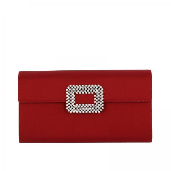 Clutch Diadem in raso con maxi Strass Buckle