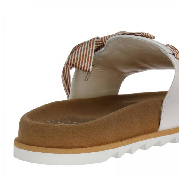Impresso E Pelle Sandalo Slidy Etiquette Con Fiocco Viv' Logo In gb6Yvf7y