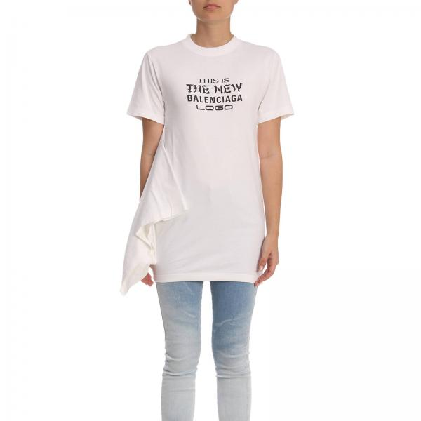 T-shirt a girocollo in puro cotone con maxi stampa